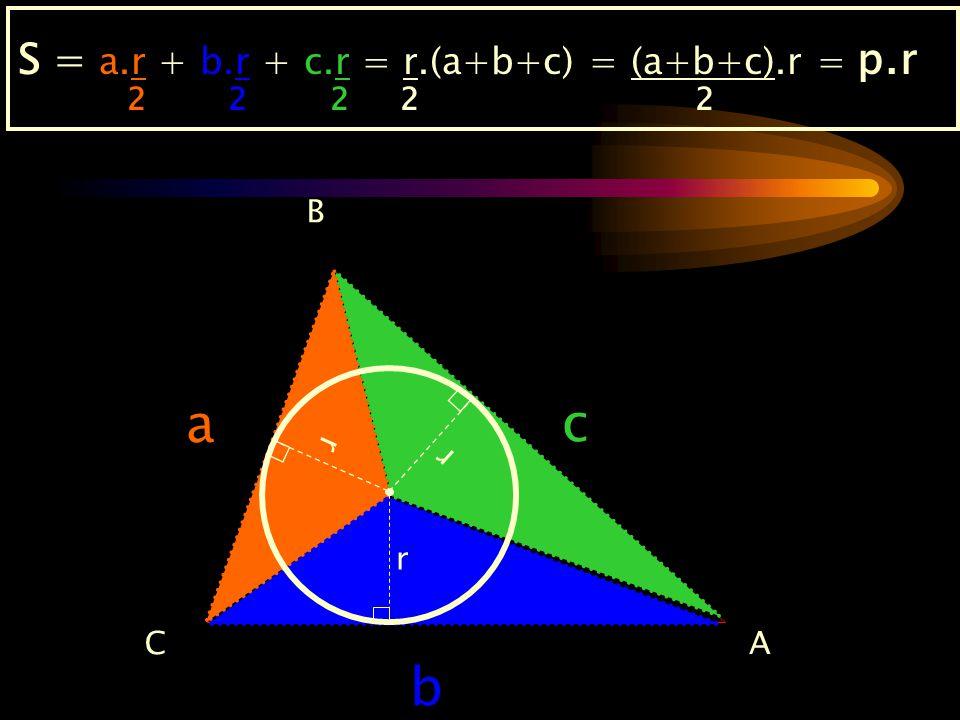 a c b S = a.r + b.r + c.r = r.(a+b+c) = (a+b+c).r = p.r 2 2 2 2 2 B r