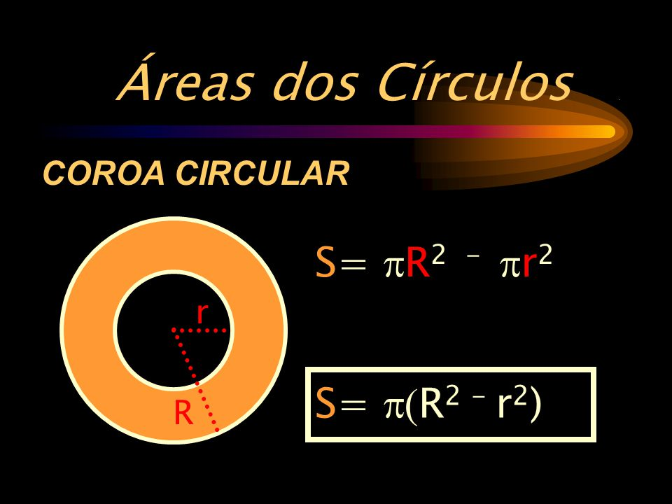 Áreas dos Círculos . COROA CIRCULAR S= pR2 - pr2 r S= p(R2 - r2) R