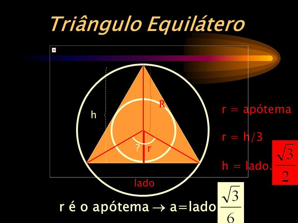 Triângulo Equilátero r é o apótema  a=lado . r = apótema r = h/3