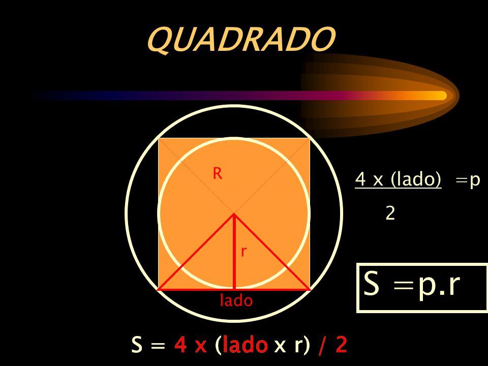 QUADRADO S =p.r S = 4 x (lado x r) / 2 S = 4 x (lado x r) / 2