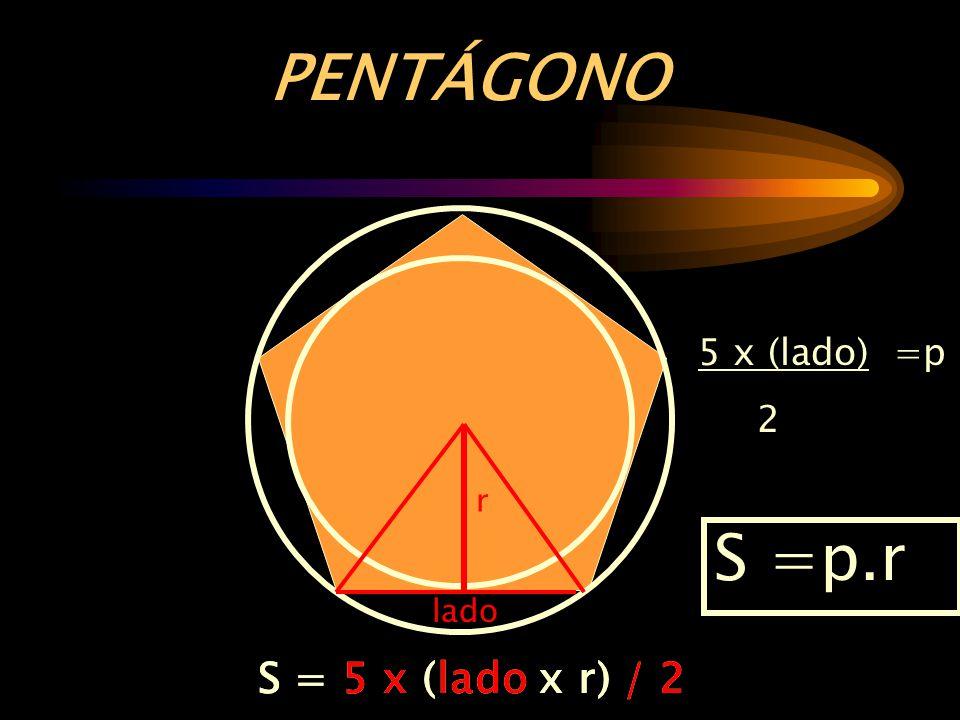PENTÁGONO S =p.r S = 5 x (lado x r) / 2 S = 5 x (lado x r) / 2