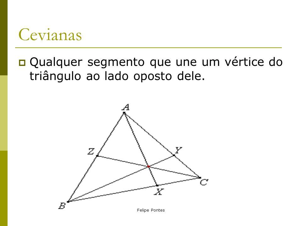 Cevianas Qualquer segmento que une um vértice do triângulo ao lado oposto dele. Felipe Pontes