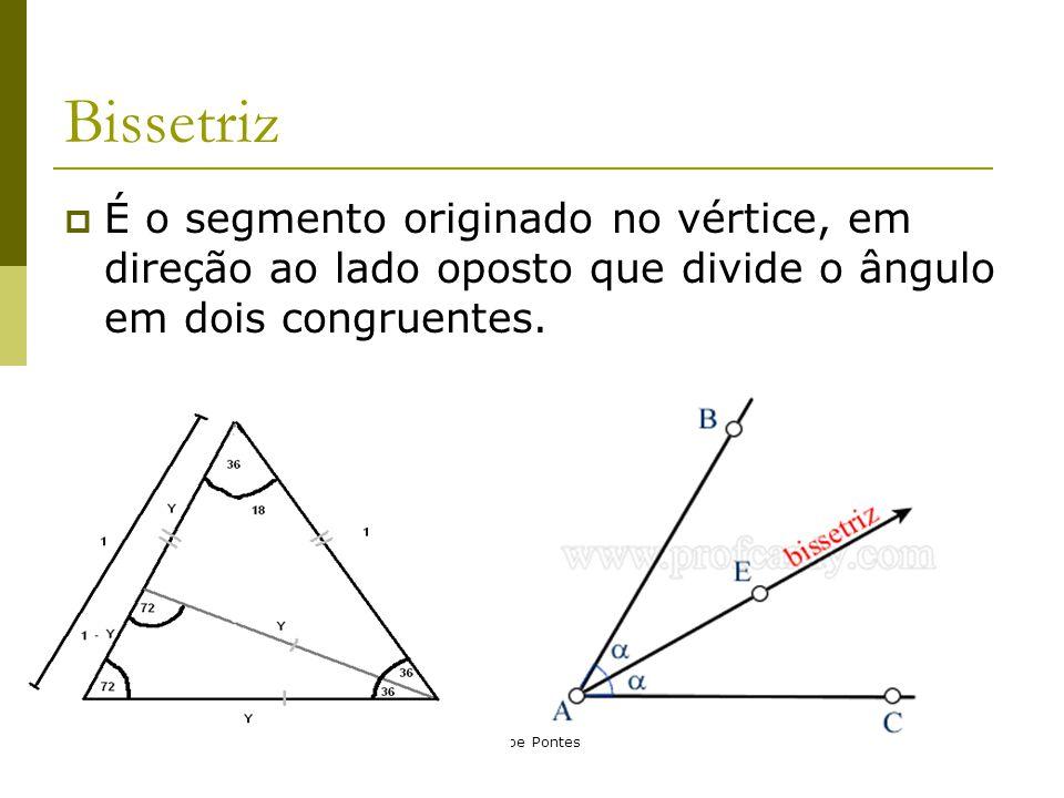 Bissetriz É o segmento originado no vértice, em direção ao lado oposto que divide o ângulo em dois congruentes.