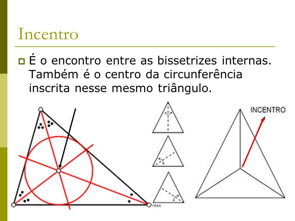 Incentro É o encontro entre as bissetrizes internas. Também é o centro da circunferência inscrita nesse mesmo triângulo.