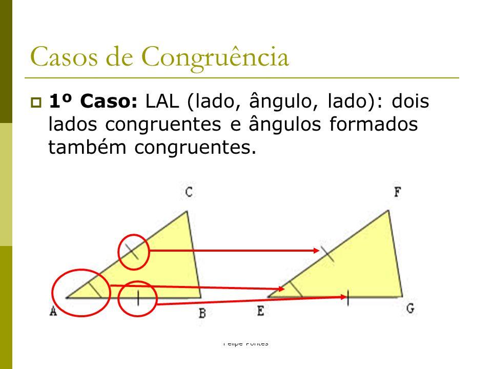Casos de Congruência 1º Caso: LAL (lado, ângulo, lado): dois lados congruentes e ângulos formados também congruentes.