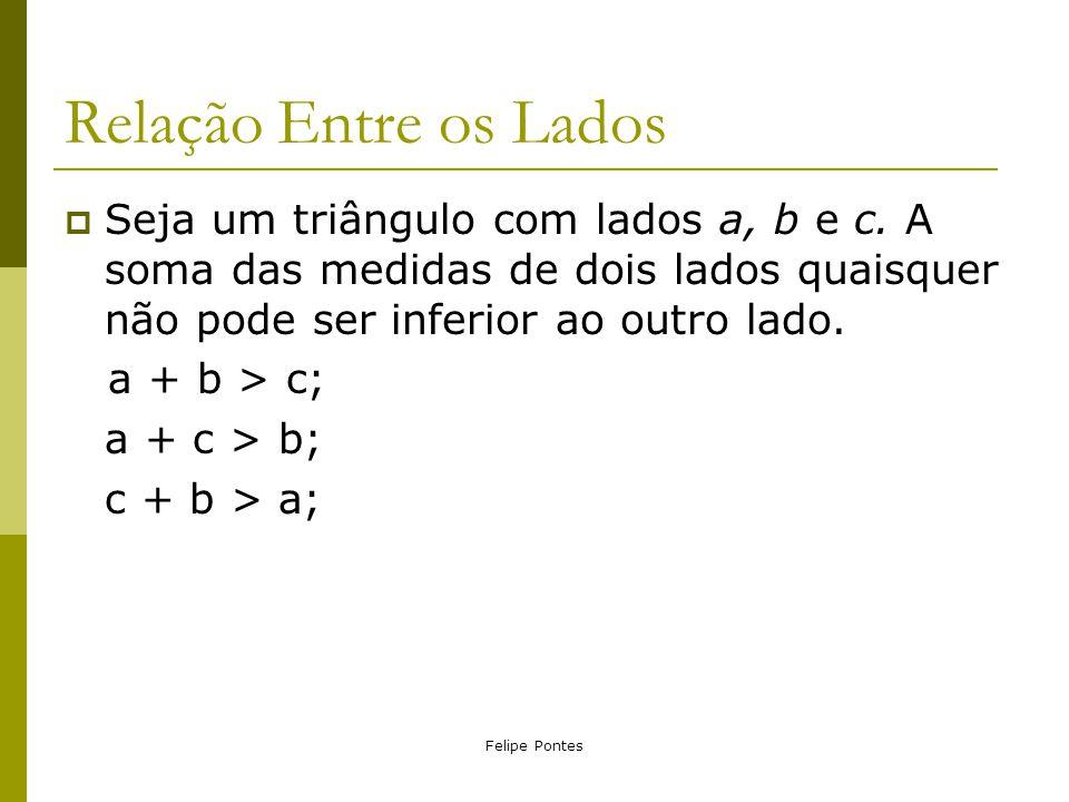Relação Entre os Lados Seja um triângulo com lados a, b e c. A soma das medidas de dois lados quaisquer não pode ser inferior ao outro lado.