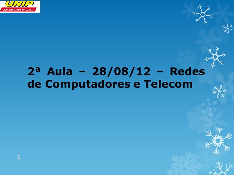 2ª Aula – 28/08/12 – Redes de Computadores e Telecom