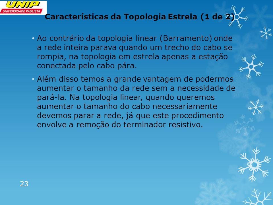 Características da Topologia Estrela (1 de 2)