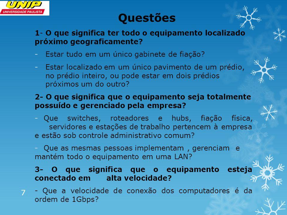 Questões 1- O que significa ter todo o equipamento localizado próximo geograficamente Estar tudo em um único gabinete de fiação