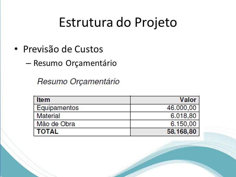 Estrutura do Projeto Previsão de Custos Resumo Orçamentário