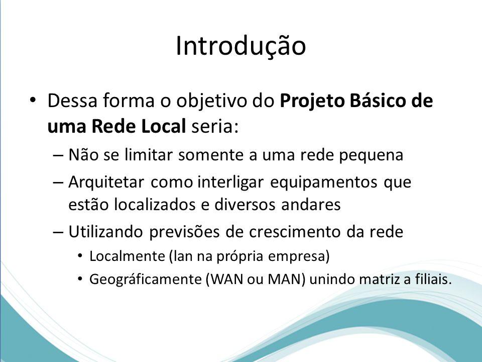 Introdução Dessa forma o objetivo do Projeto Básico de uma Rede Local seria: Não se limitar somente a uma rede pequena.