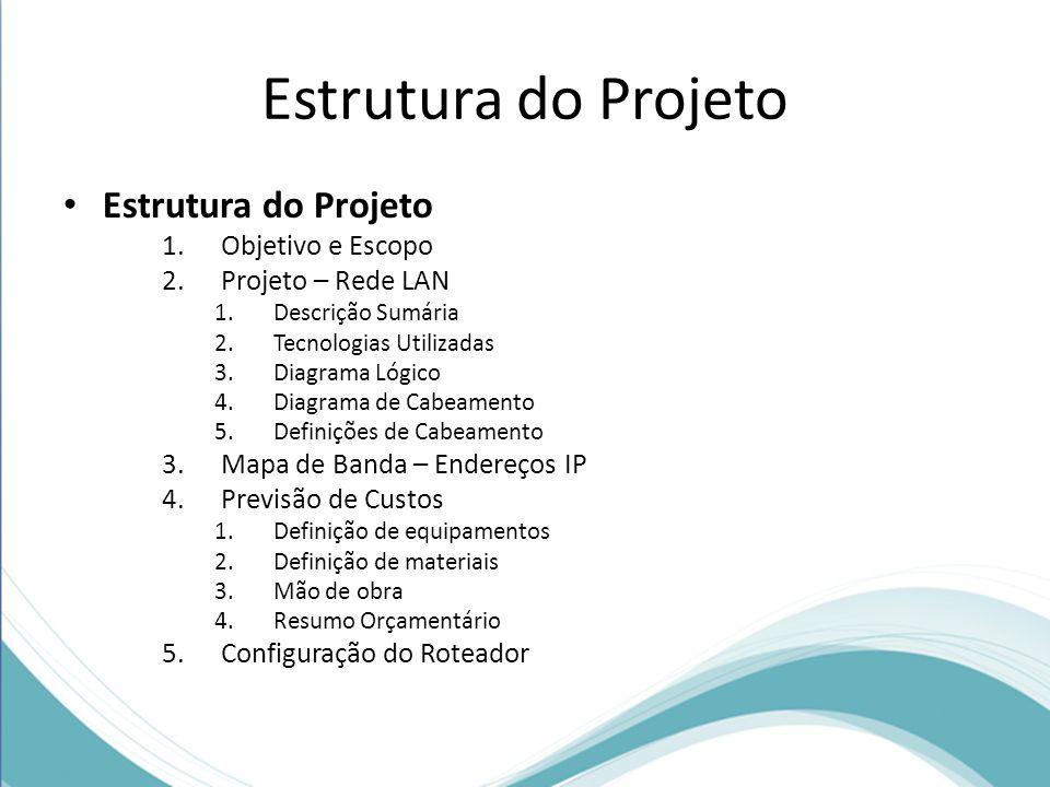 Estrutura do Projeto Estrutura do Projeto Objetivo e Escopo