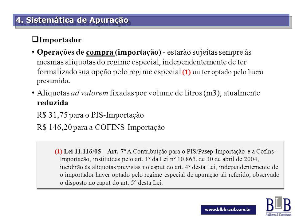 R$ 31,75 para o PIS-Importação R$ 146,20 para a COFINS-Importação
