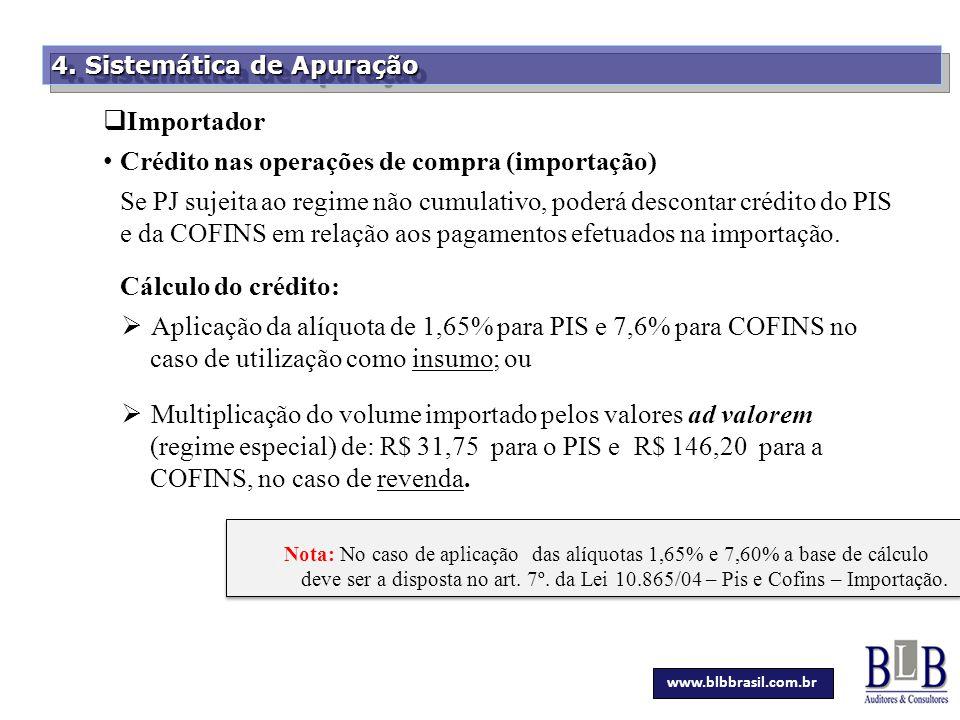 Crédito nas operações de compra (importação)