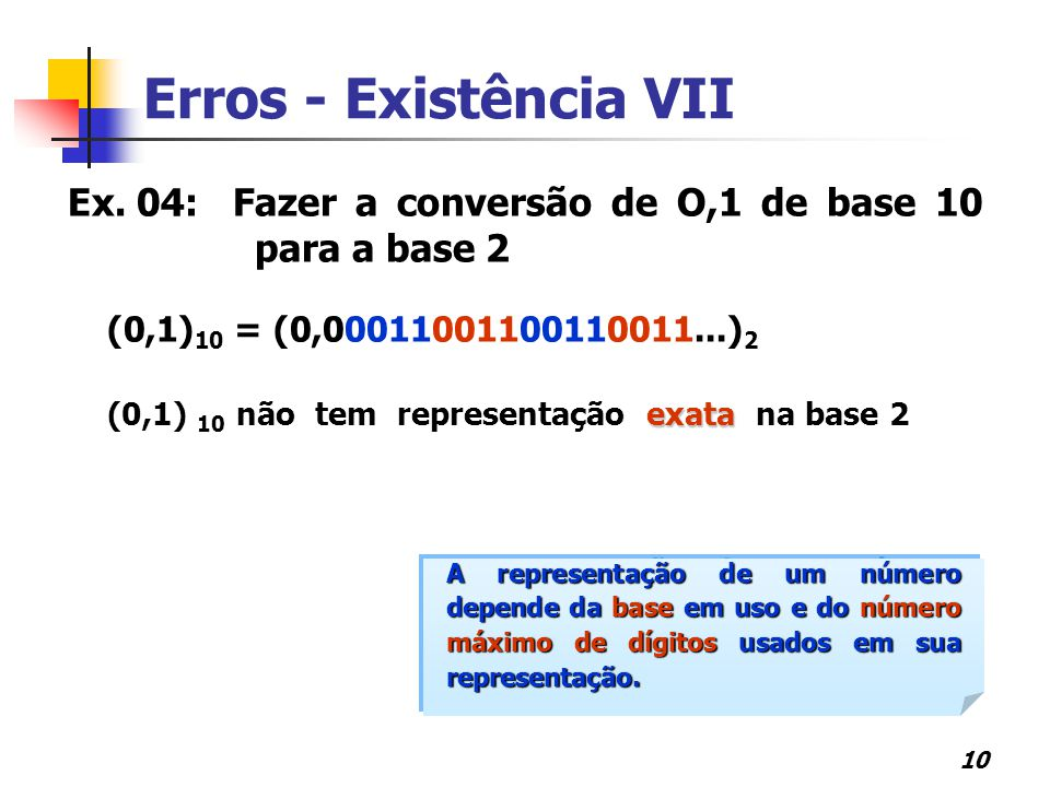 Erros - Existência VII Ex. 04: Fazer a conversão de O,1 de base 10 para a base 2. (0,1)10 = (0,00011001100110011...)2.