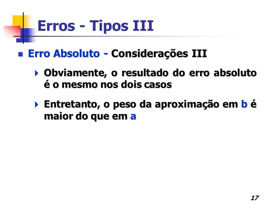 Erros - Tipos III Erro Absoluto - Considerações III