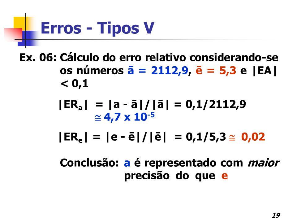Erros - Tipos V Ex. 06: Cálculo do erro relativo considerando-se os números ā = 2112,9, ē = 5,3 e |EA| < 0,1.