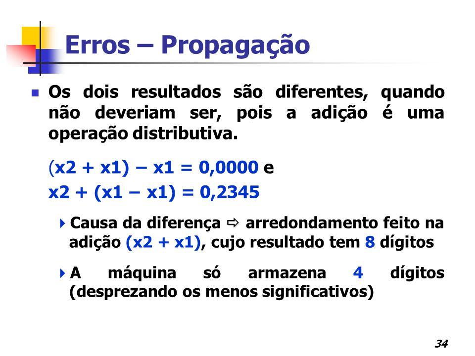 Erros – Propagação Os dois resultados são diferentes, quando não deveriam ser, pois a adição é uma operação distributiva.