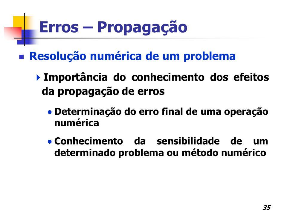 Erros – Propagação Resolução numérica de um problema