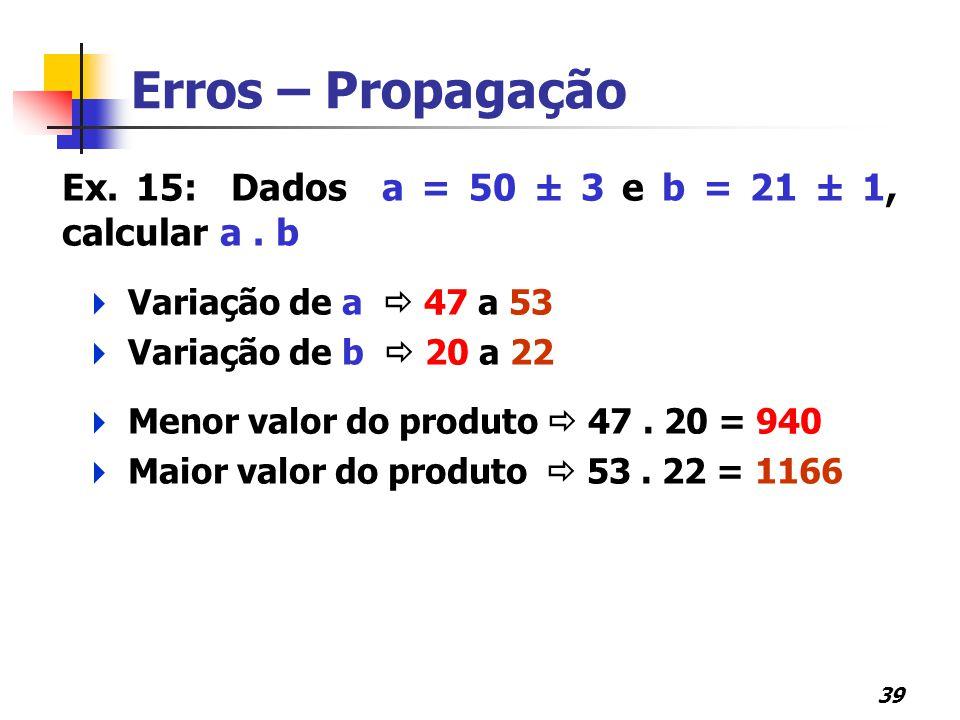 Erros – Propagação Ex. 15: Dados a = 50 ± 3 e b = 21 ± 1, calcular a . b. Variação de a  47 a 53.