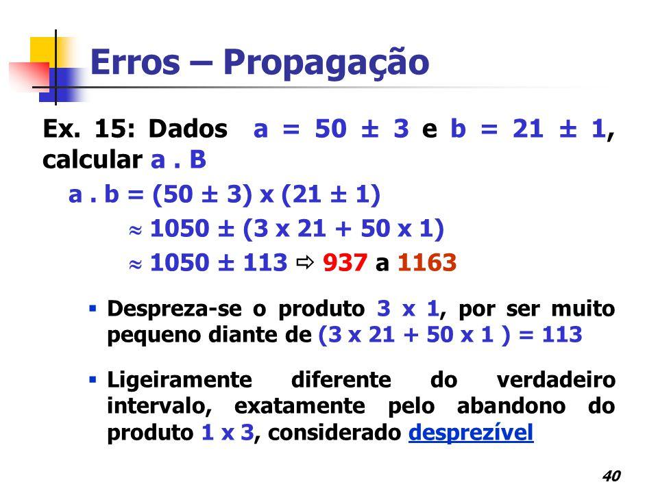 Erros – Propagação Ex. 15: Dados a = 50 ± 3 e b = 21 ± 1, calcular a . B. a . b = (50 ± 3) x (21 ± 1)
