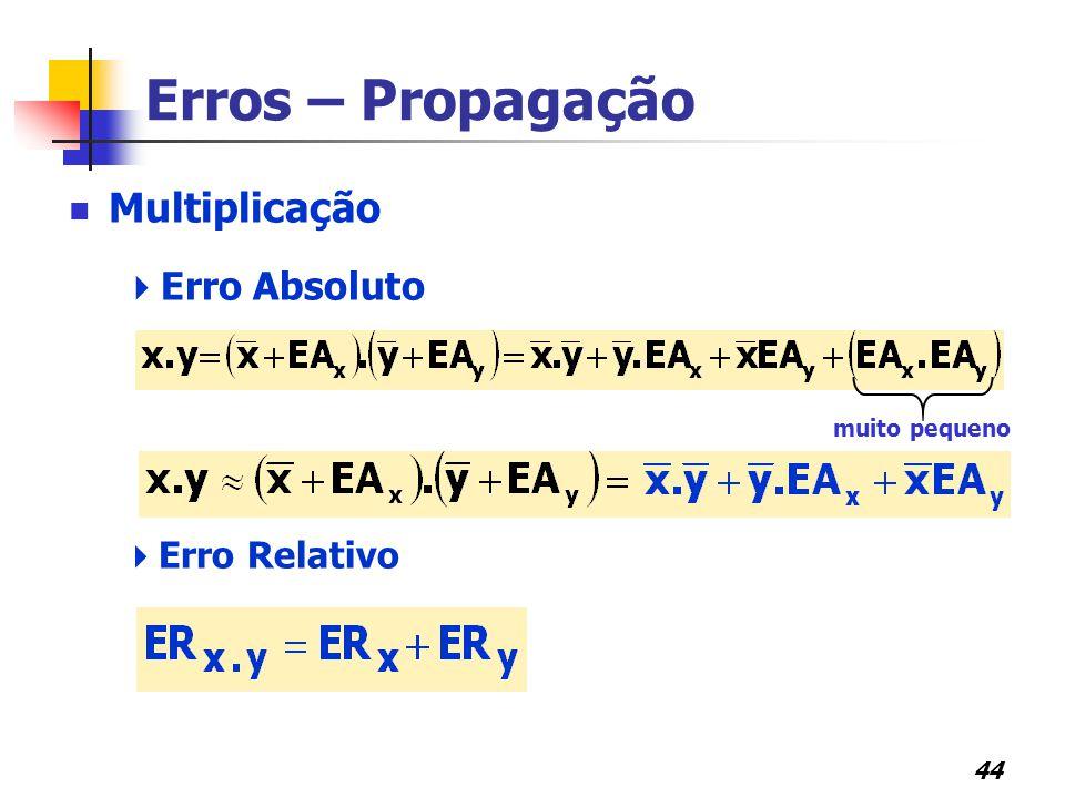 Erros – Propagação Multiplicação Erro Absoluto Erro Relativo