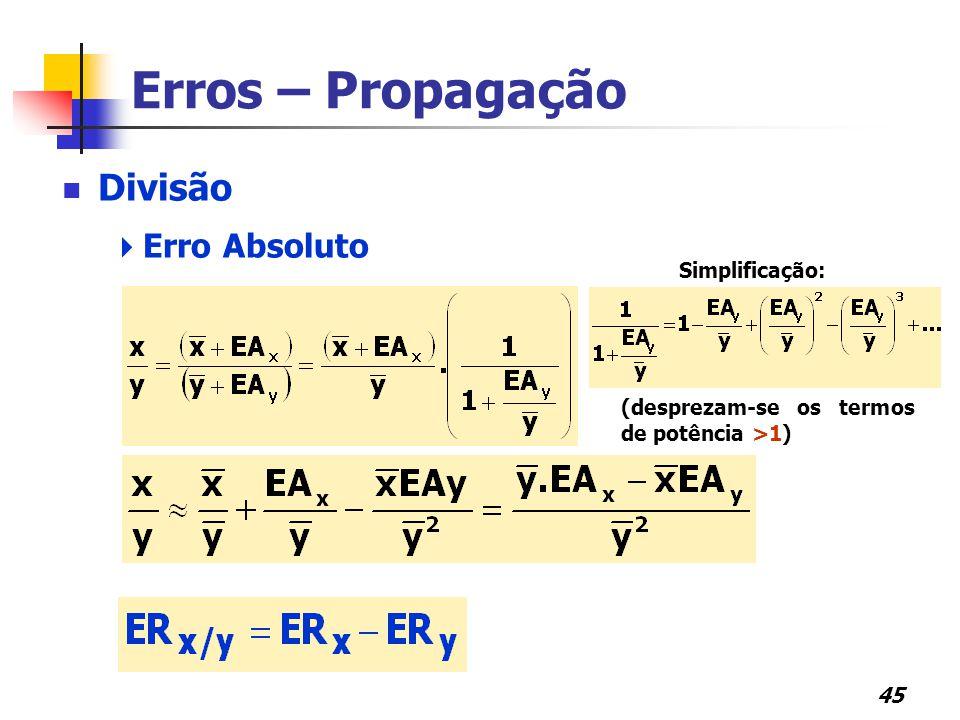 Erros – Propagação Divisão Erro Absoluto Erro Relativo Simplificação: