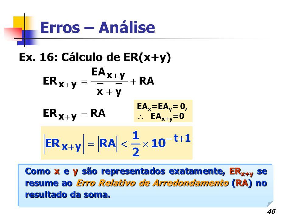 Erros – Análise Ex. 16: Cálculo de ER(x+y)