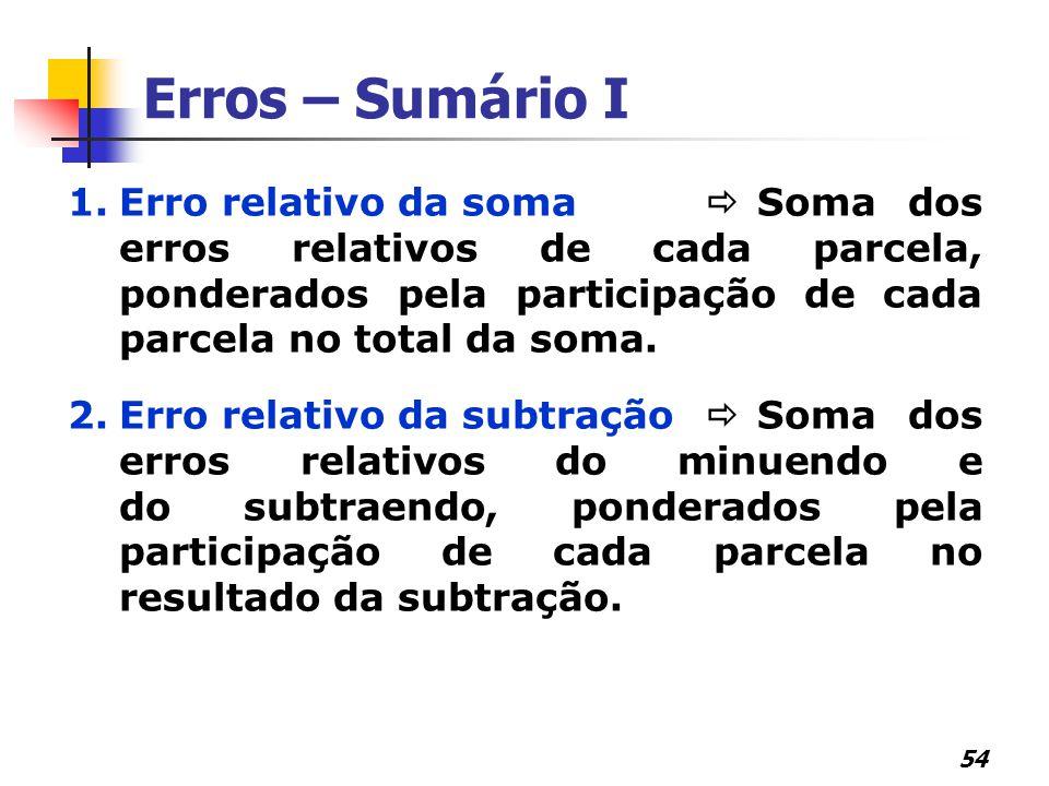 Erros – Sumário I Erro relativo da soma  Soma dos erros relativos de cada parcela, ponderados pela participação de cada parcela no total da soma.
