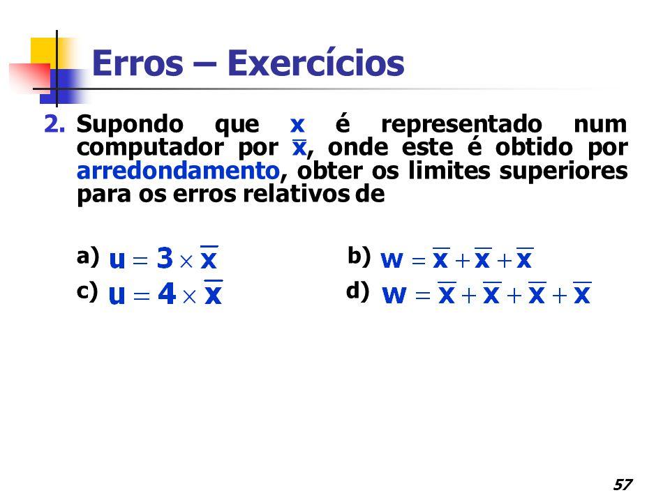Erros – Exercícios