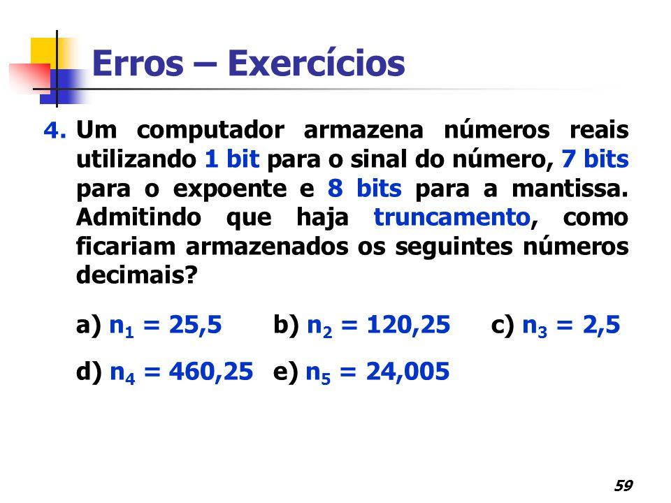 Erros – Exercícios d) n4 = 460,25 e) n5 = 24,005
