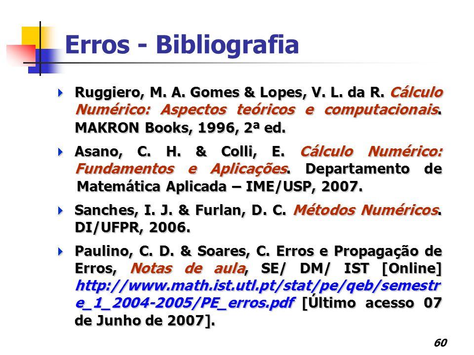 Erros - Bibliografia Ruggiero, M. A. Gomes & Lopes, V. L. da R. Cálculo Numérico: Aspectos teóricos e computacionais. MAKRON Books, 1996, 2ª ed.