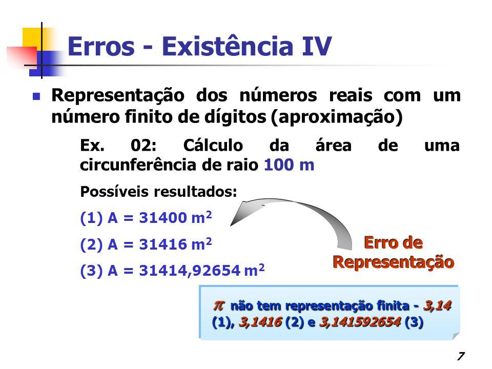 Erros - Existência IV Representação dos números reais com um número finito de dígitos (aproximação)