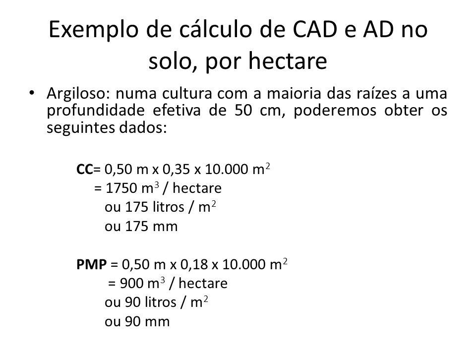 Exemplo de cálculo de CAD e AD no solo, por hectare