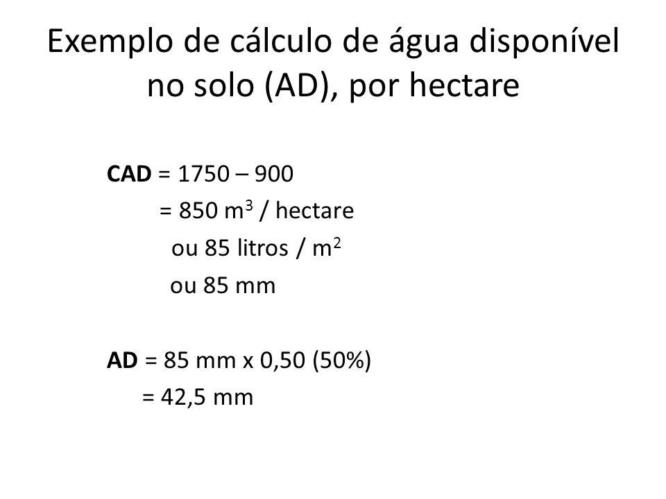 Exemplo de cálculo de água disponível no solo (AD), por hectare