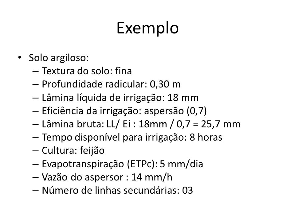 Exemplo Solo argiloso: Textura do solo: fina