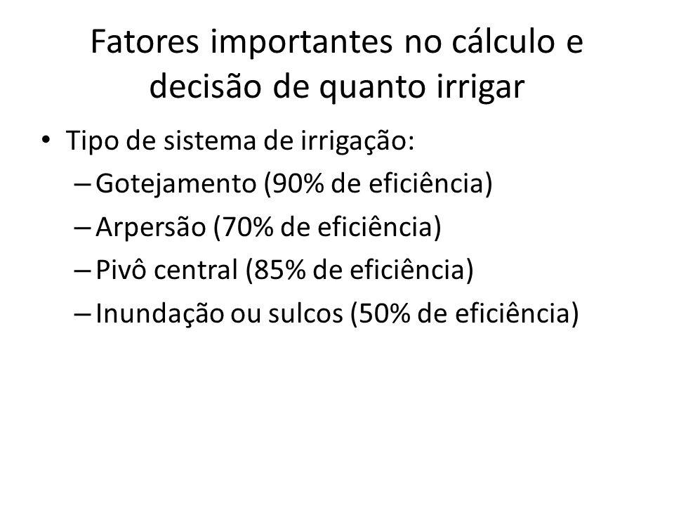 Fatores importantes no cálculo e decisão de quanto irrigar