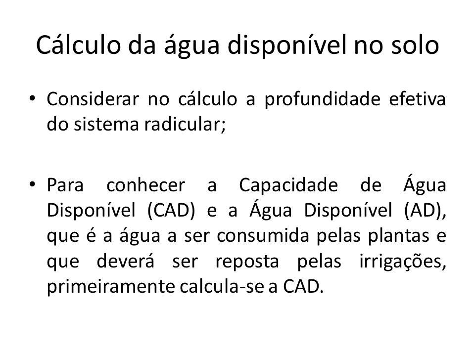 Cálculo da água disponível no solo