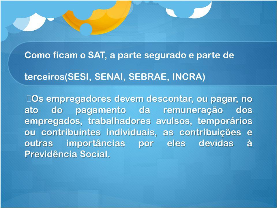 Como ficam o SAT, a parte segurado e parte de terceiros(SESI, SENAI, SEBRAE, INCRA)