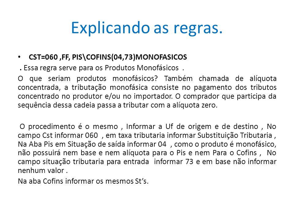 Explicando as regras. CST=060 ,FF, PIS\COFINS(04,73)MONOFASICOS