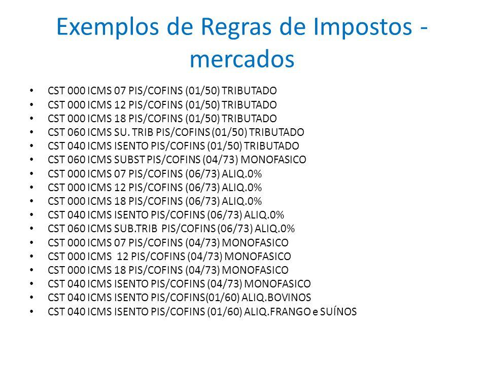 Exemplos de Regras de Impostos - mercados