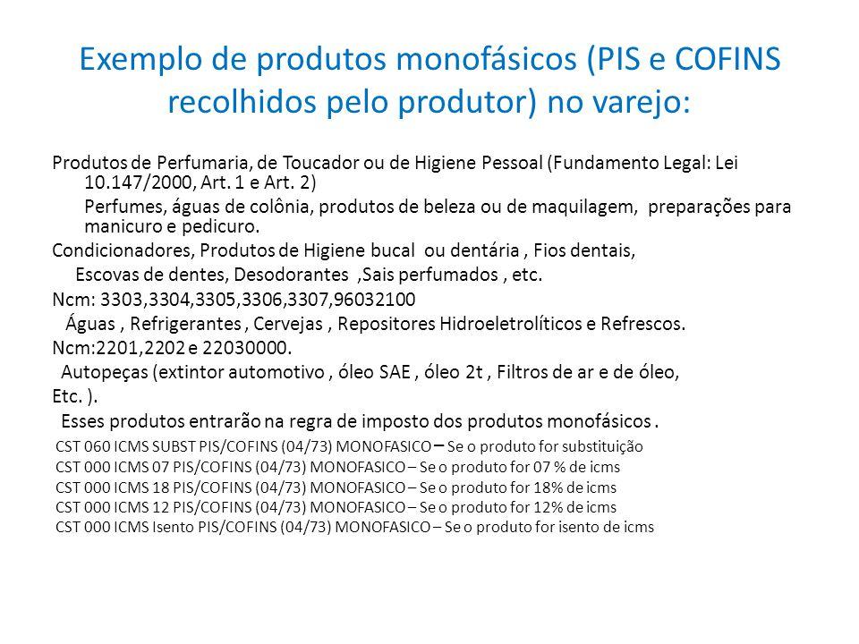 Exemplo de produtos monofásicos (PIS e COFINS recolhidos pelo produtor) no varejo: