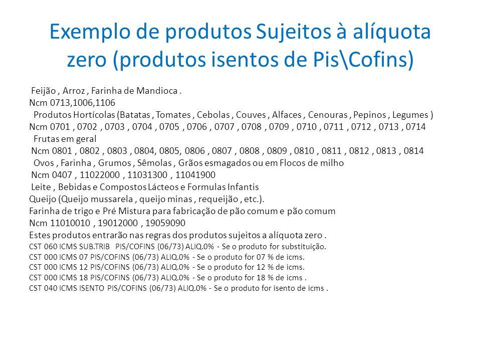 Exemplo de produtos Sujeitos à alíquota zero (produtos isentos de Pis\Cofins)