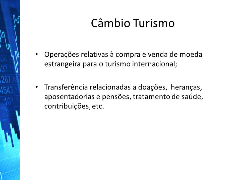 Câmbio Turismo Operações relativas à compra e venda de moeda estrangeira para o turismo internacional;