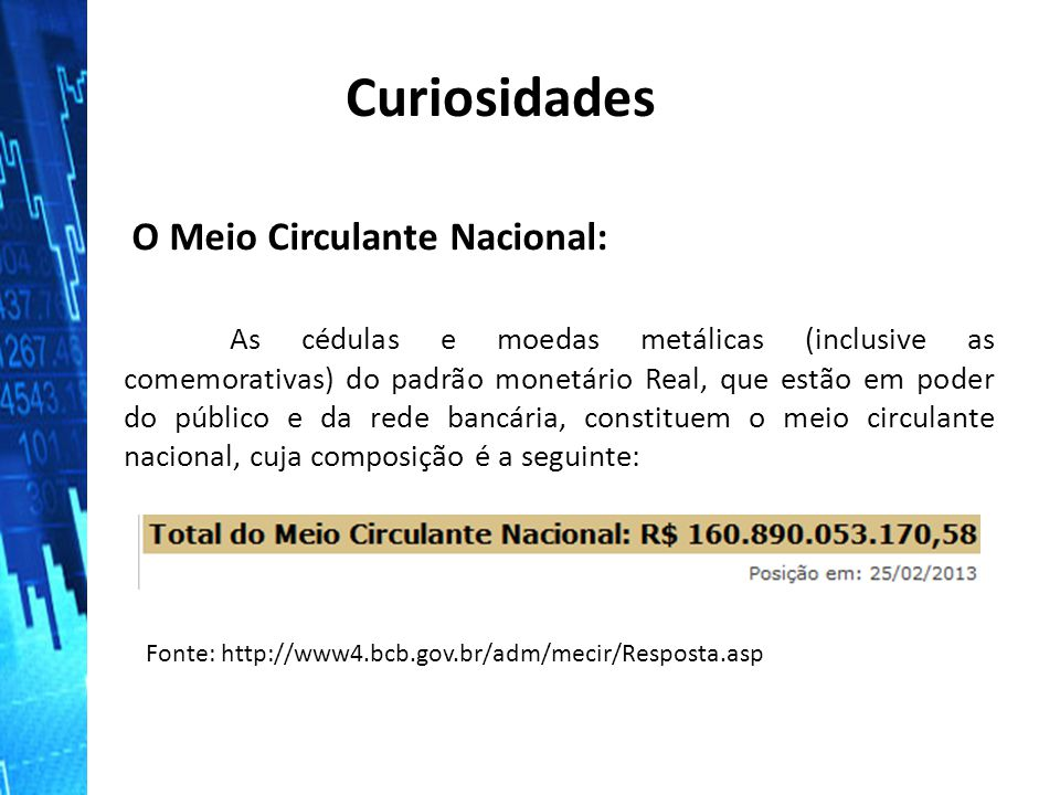 Curiosidades O Meio Circulante Nacional:
