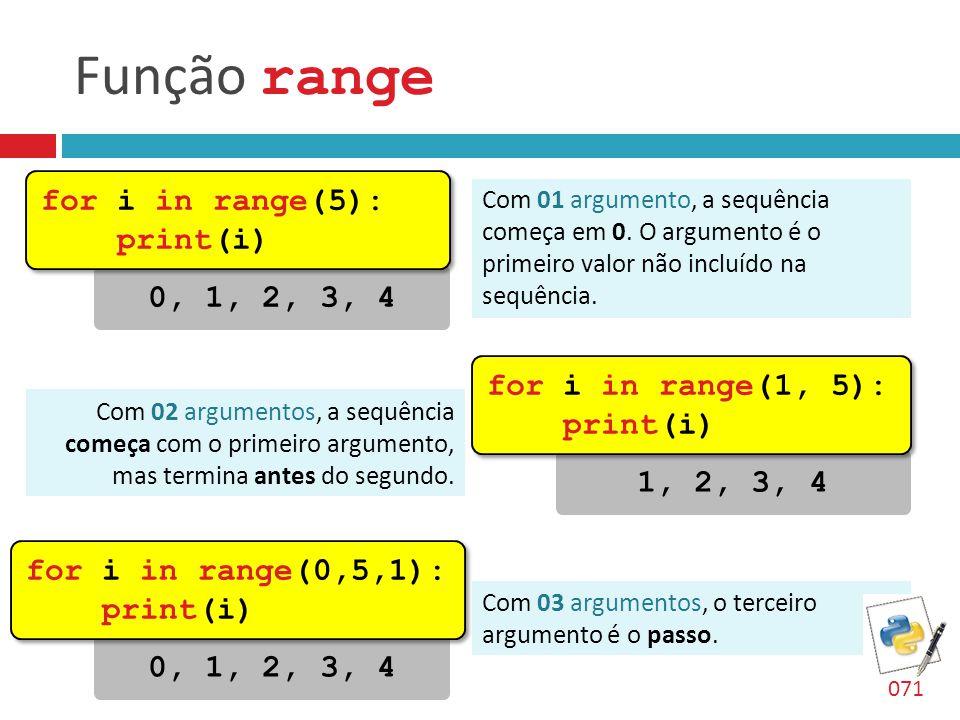 Função range for i in range(5): print(i) 0, 1, 2, 3, 4