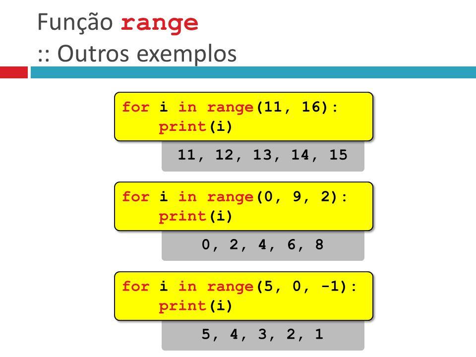 Função range :: Outros exemplos