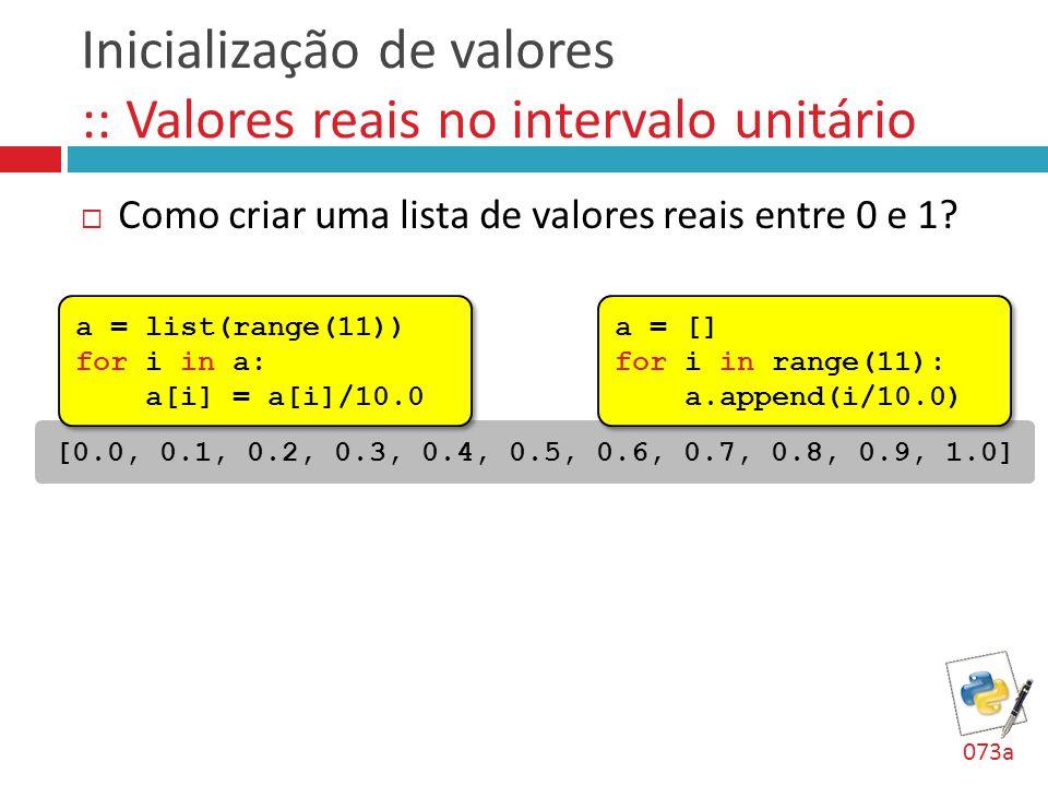 Inicialização de valores :: Valores reais no intervalo unitário