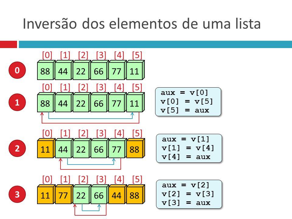 Inversão dos elementos de uma lista