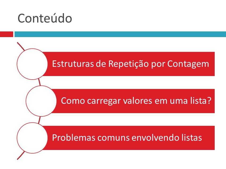 Conteúdo Estruturas de Repetição por Contagem